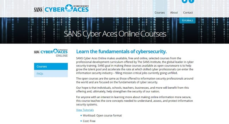 Best cybersecurity courses online for free: SANS Cyber Aces Online cyber security