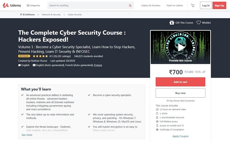 Best cybersecurity courses online for free: Udemy