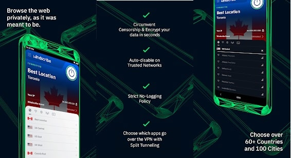 Top 10 Best Unlimited Free VPNs Apps for Android Phone in 2020: Windscribe FREE VPN