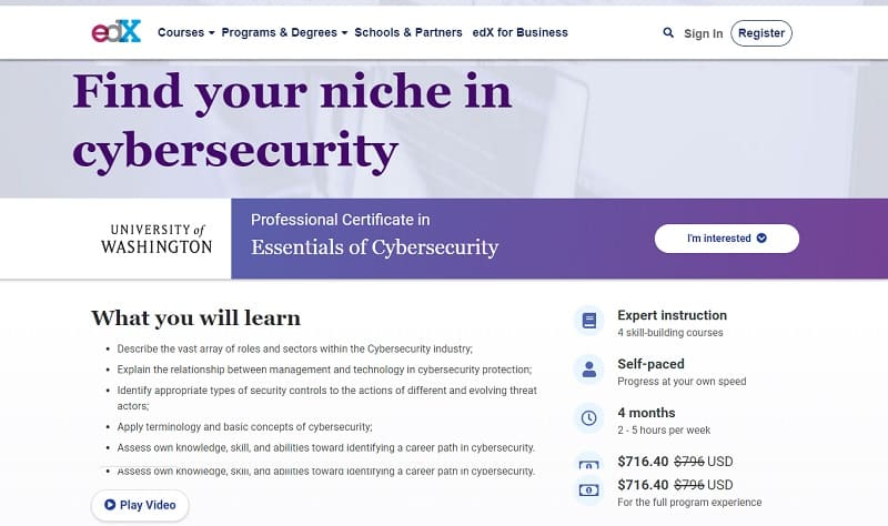 Best cybersecurity courses online for free: edX Essentials of Cybersecurity