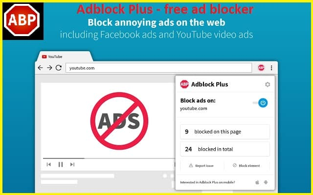 AdBlock Plus: A free ads blocking browser extension