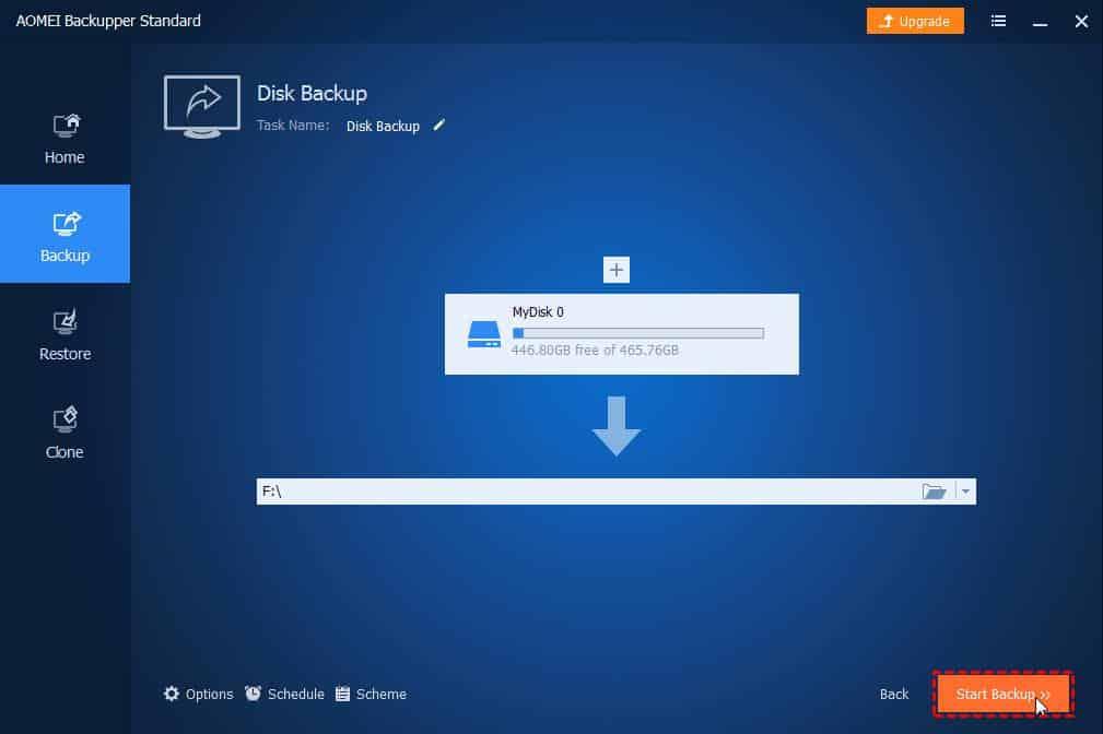 Free Backup Software Data AOMEI Backupper: Start Backup