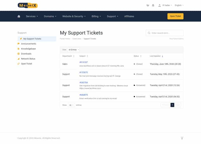 Mewnix Customer Support: Tickets history