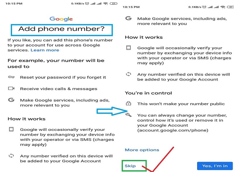 "Step 8: Now it will ask to ""Add phone number?"". Scroll down and please select the ""Skip"" option to avoid phone no. verification with a new Google account."