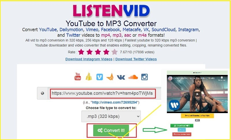 Best youtube online downloader to mp3 bitrate 320 kbps: Listenvid