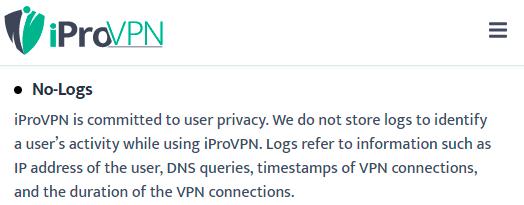 Does iProVPN log any user data? No Log